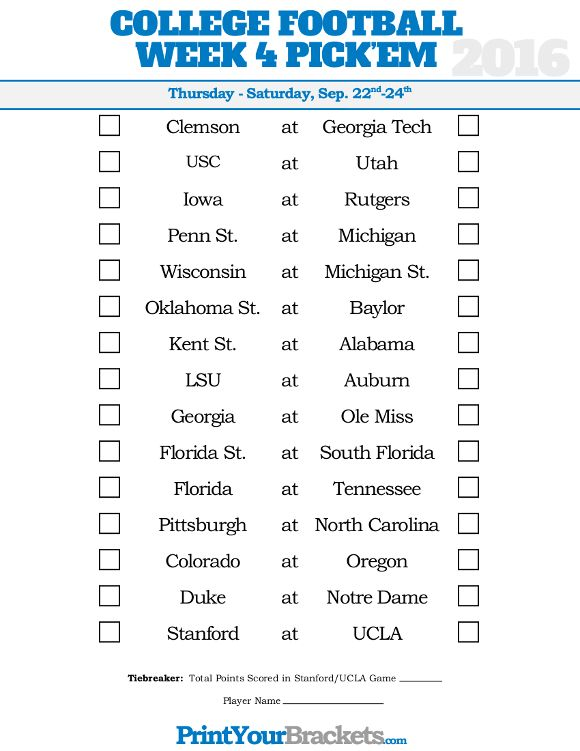 picture regarding College Football Pick Em Printable Sheets titled 7 days 4 University Soccer Pickem Sheet University Soccer