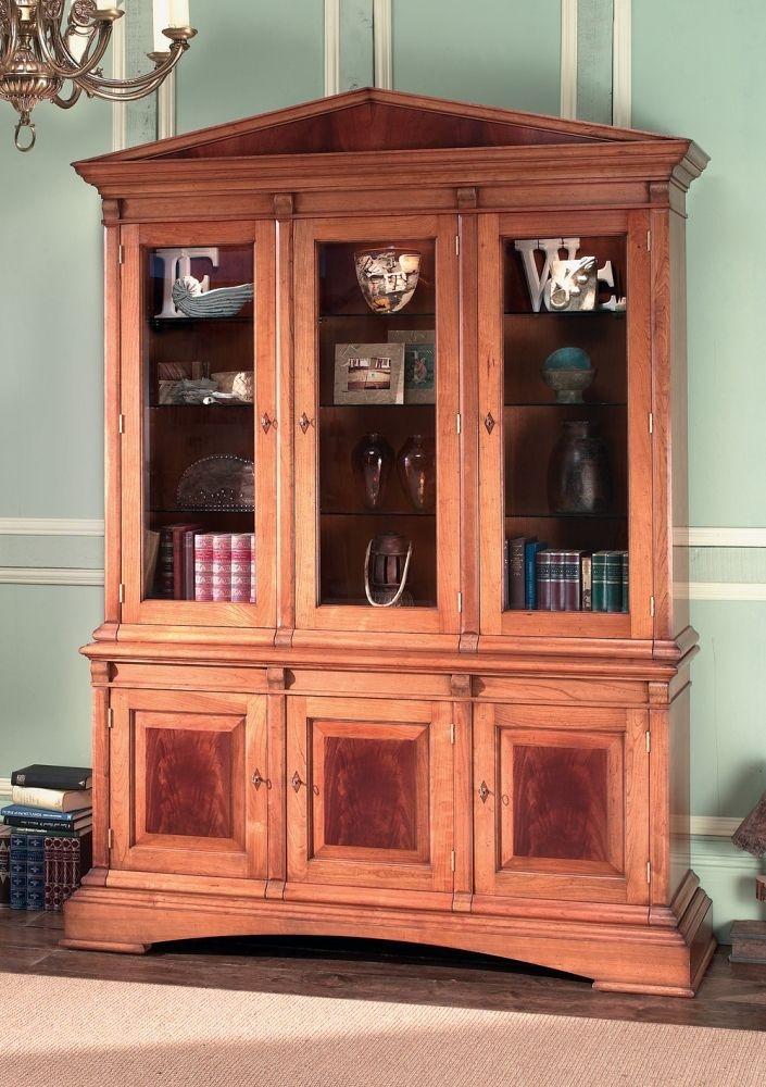 Cherry Wood Display Cabinet With 3 Cupboards Three Fielded Style Door Panels Faced Decorative Curl