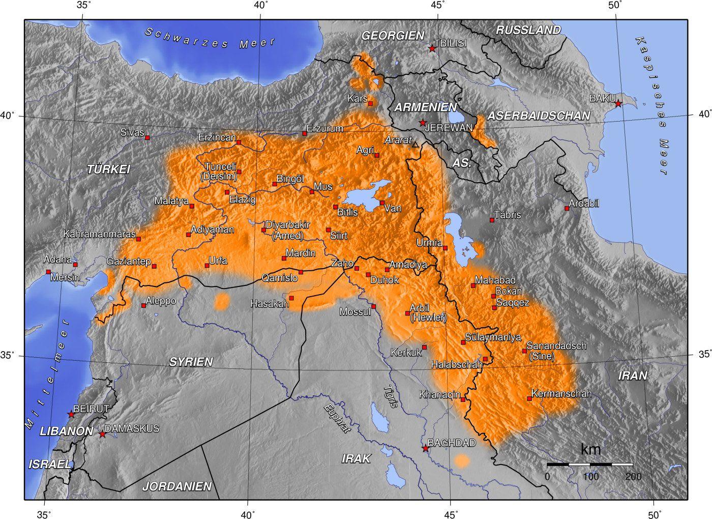 Gegenwartiges Kerngebiet Der Kurdischen Siedlungsgebiete Jpg 1400