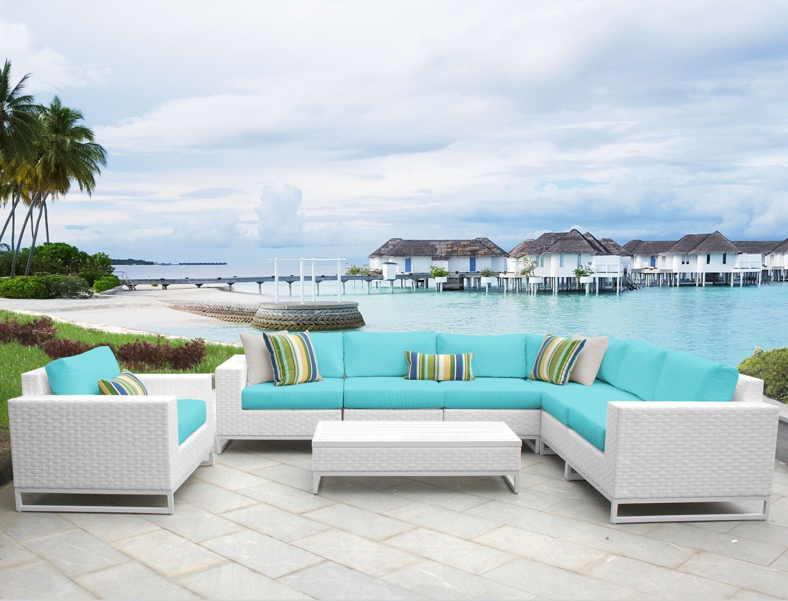 Miami 8 Piece Sectional Seating Group With Cushions Outdoor