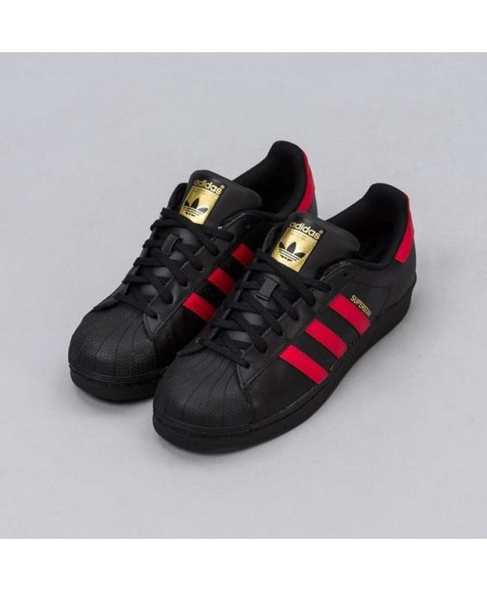 de8ee3e10bfb2 Adidas Superstar In Core Black Red Shoes
