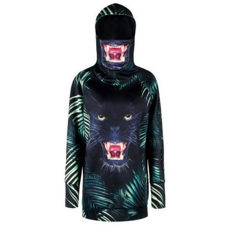 9c6f57f0eb5e 3D leaves leopard hoodie with face mask thumb holes sweatshirt for teens