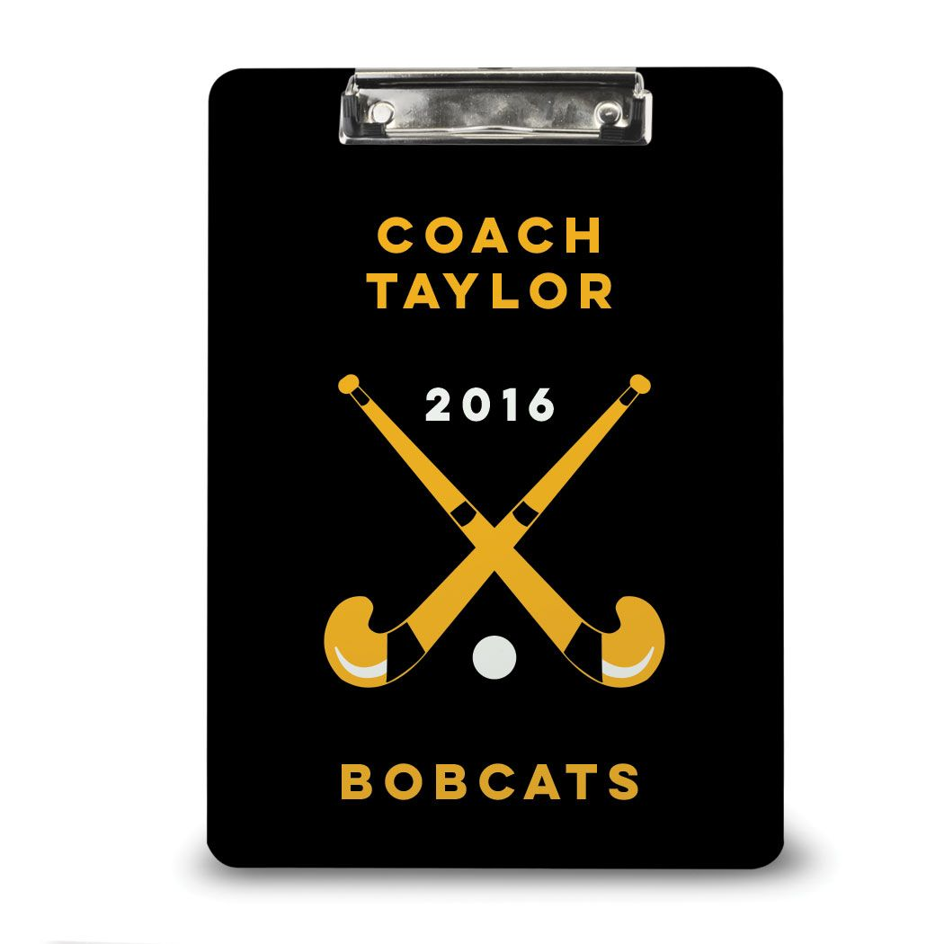Field Hockey Coaching Clipboard Custom Coach Name And Text Dry Erase Field Hockey Coach Gift Idea Black Yellow Hockey Coach Gifts