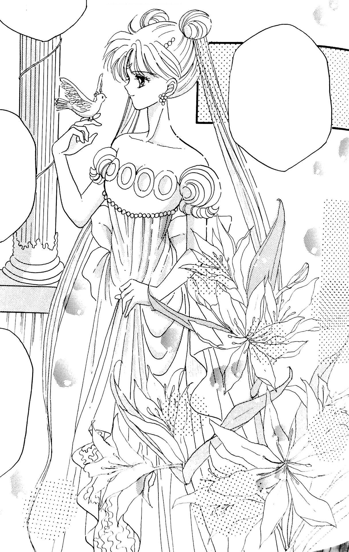 Princess Serenity Sailor Moon Coloring Pages Sailor Moon Manga Sailor Moon Tattoo