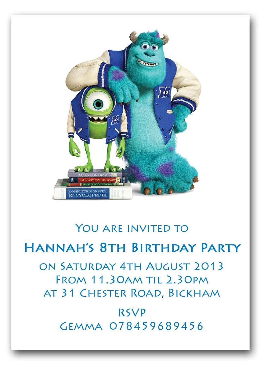 Personalised Invite Childrens Birthday Party Invitations Monsters ...