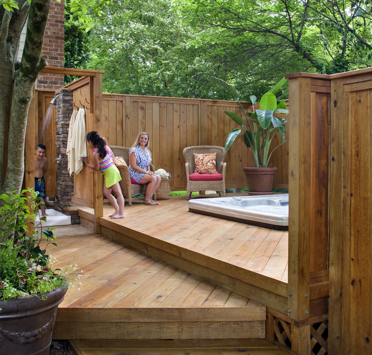 Living Privacy Fence Wood Deck Around Hot Tub With Privacy Fence Archadeck Outdoor