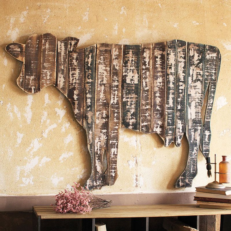 Wood Wall Decor For Kitchen : Reclaimed wood cow wall art dotandbo like the rustic