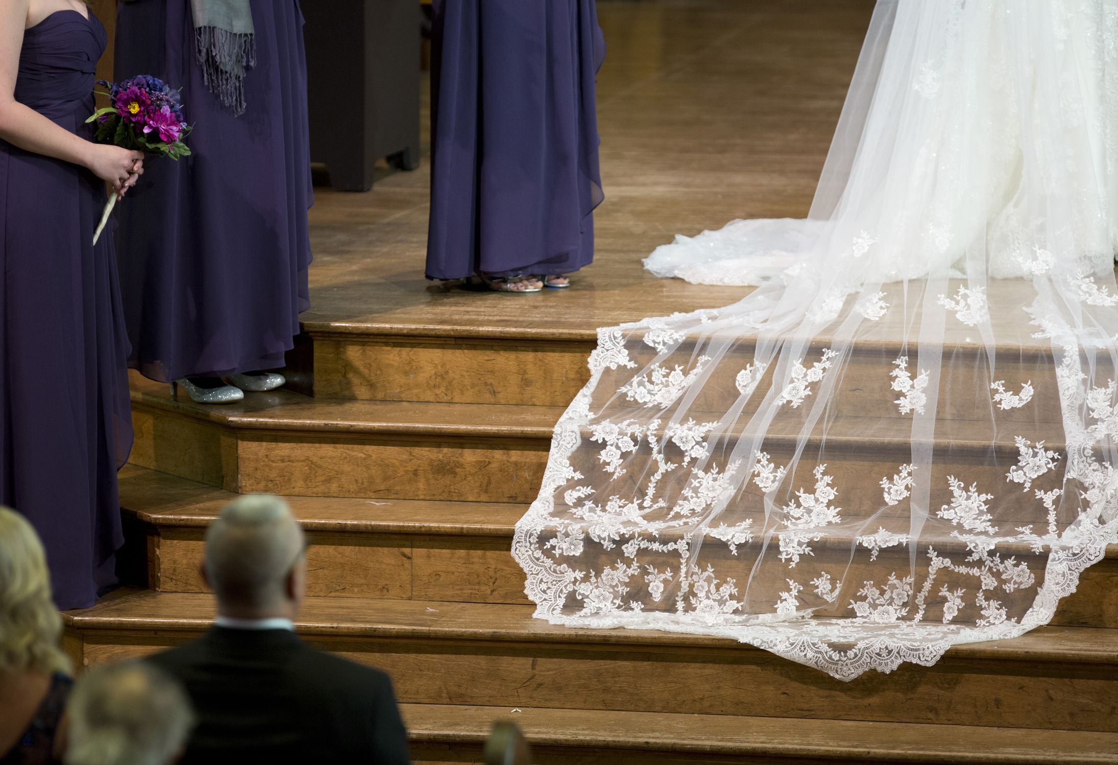 A lace #wedding veil trails on the wooden steps of Kirkpatrick ...