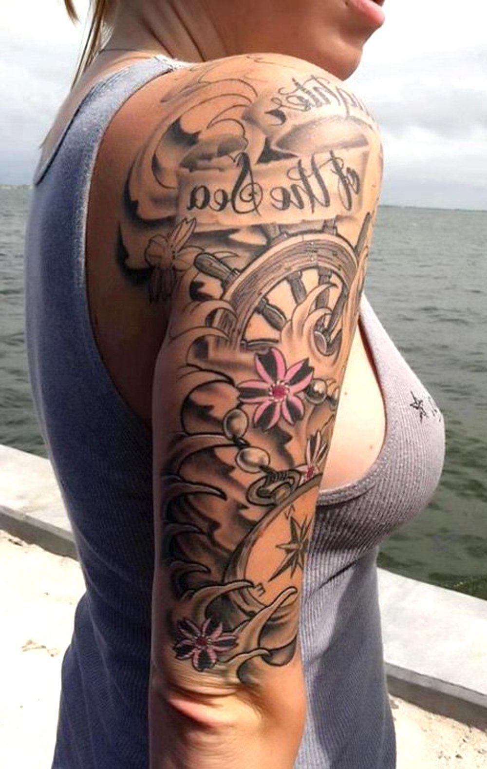 Black Full Arm Sleeve Tattoo Ideas For Women Sea Flower Rudder