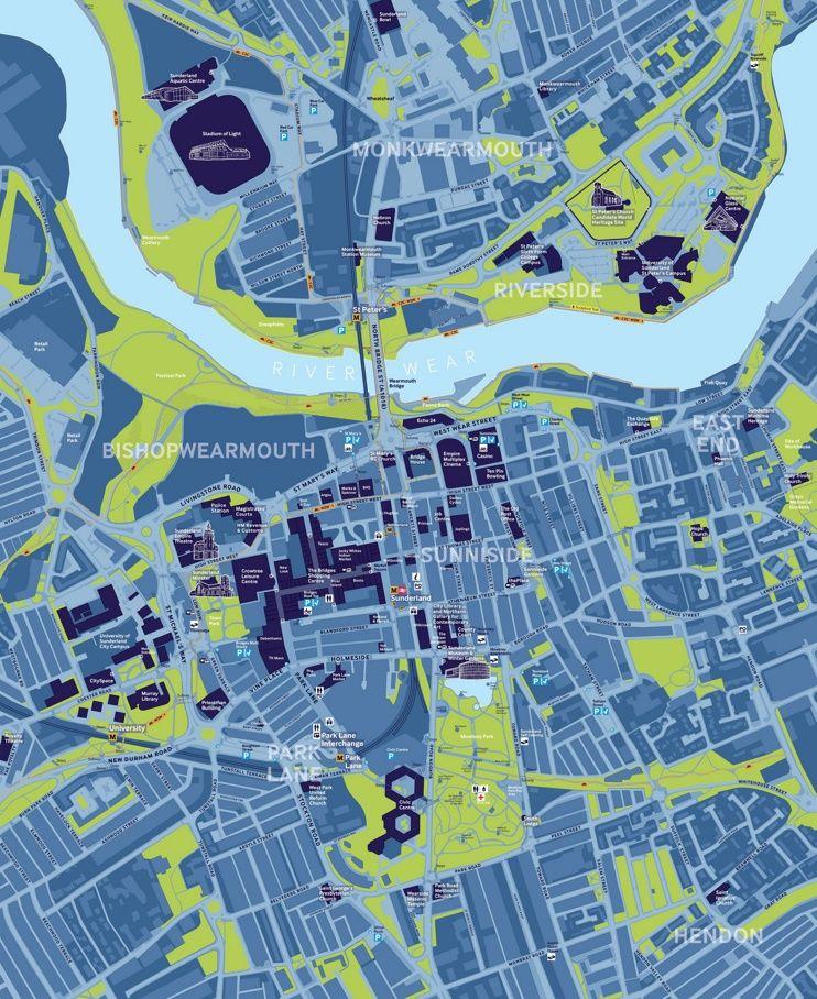 Sunderland tourist map | Maps in 2019 | Tourist map, Map, Sunderland