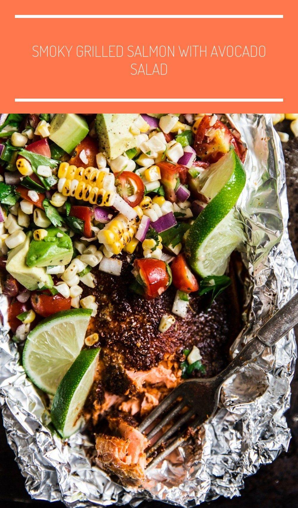 Smoky Grilled Salmon with Avocado Salad salad salmon Smoky Grilled Salmon with Avocado Salad