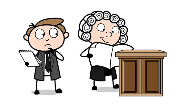 Confused Cartoon Lawyer Thinking And Judge Reading A Newspaper