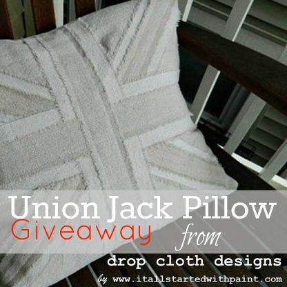 At The Picket Fence: Union Jack Pillow Giveaway...from Drop Cloth Designs!