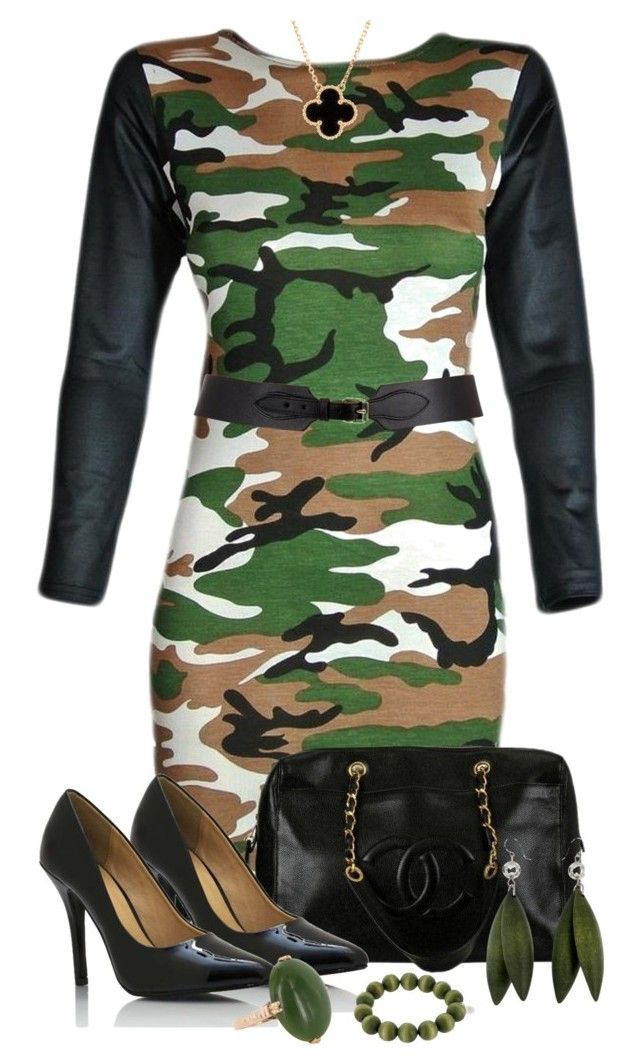 """""""Camouflage Chic"""" by forirgirl ❤ liked on Polyvore featuring Chanel, Vintage, Van Cleef & Arpels and Maison Boinet"""