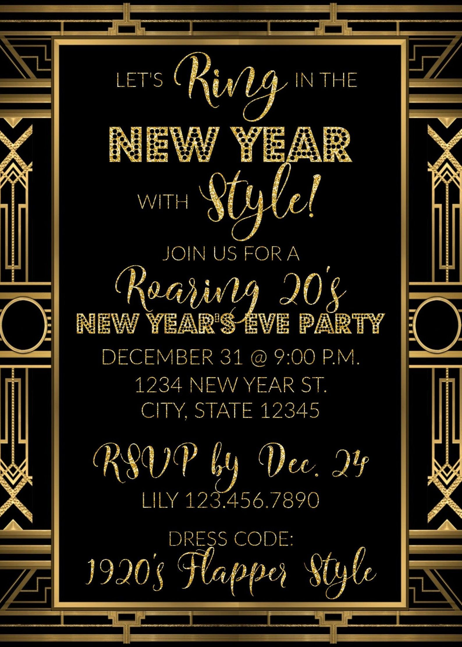 Roaring 20s New Years Eve Party Invitation Ring in the New