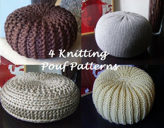 KNITTING PATTERN 4 Knitted Pouf Floor cushion Patterns & Tutorials ...