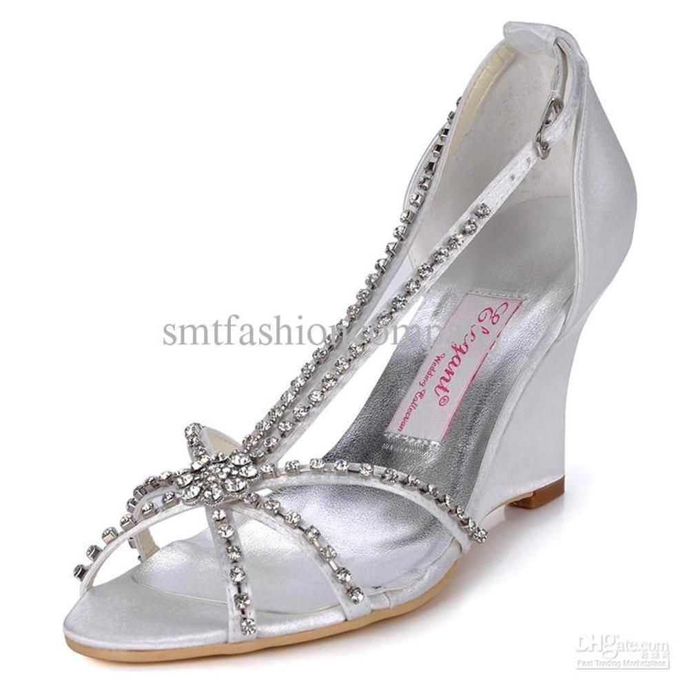 Nice 52 Stunning Wedge Silver Wedding Shoes, Cozy Wedding With Covered In  Sparkly Rhinestones #weddingshoes