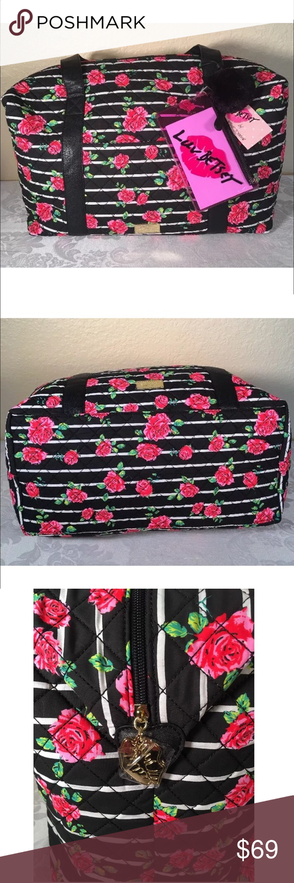 """Betsey Rose weekender large bag travel tote stripe Betsey Johnson Rose floral stripe weekender large travel bag tote  quilted with black faux leather handles  extra pouch , inside has zippered pocket plus pockets for pens and phone  12x18x9"""" great for a getaway ! Betsey Johnson Bags Travel Bags"""
