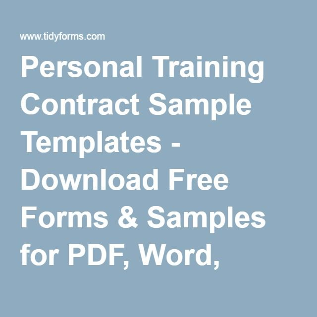 Personal Training Contract Sample Templates - Download Free Forms ...