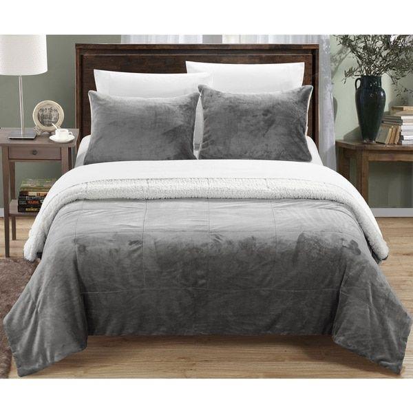 Chic Home Ernest 3-Piece Grey Sherpa Blanket and Sham Set