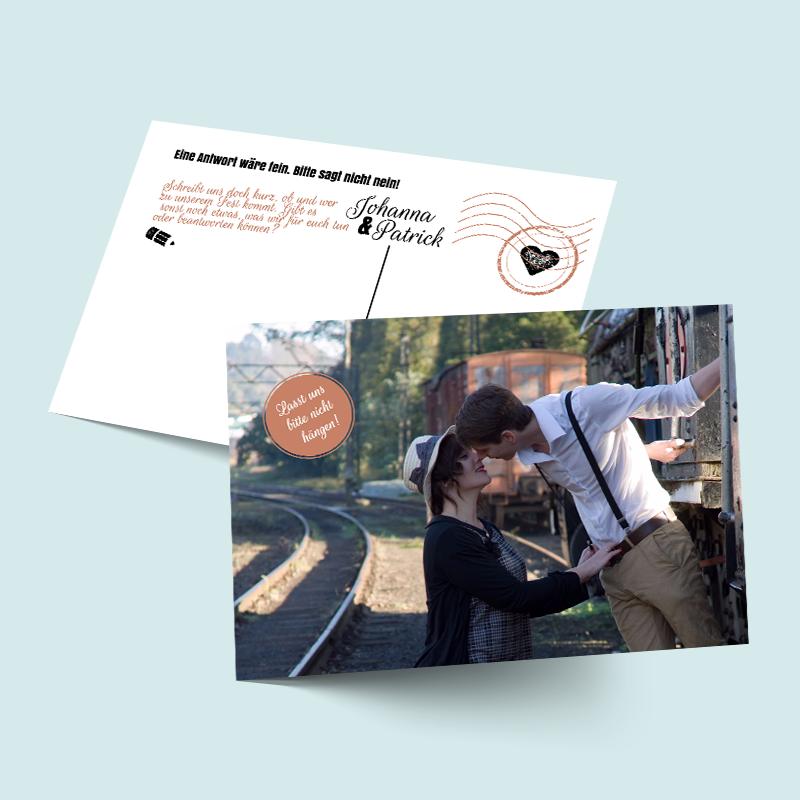 Bohemian Antwortkarten zu retro Hochzeitseinladungen