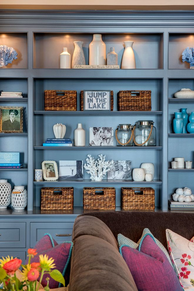 blue painted built styled bookshelves alexander design group rh pinterest com