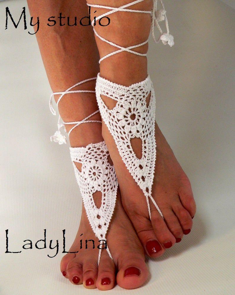 Crochet Barefoot Sandles, Foot jewelry, Wedding, Crochet
