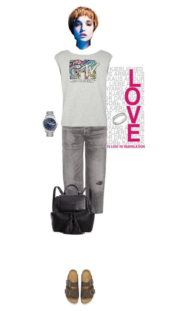"""""""my real outfit today"""" by akchen ❤ liked on Polyvore featuring Citizens of Humanity, Birkenstock, Anastazio, Tory Burch and Timex"""
