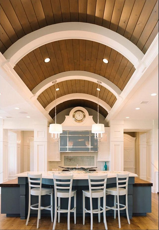 Barrel Ceiling Kitchen Coastal Navy Kitchen With Barrel