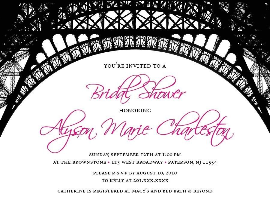 Paris Theme Bridal Shower Invitations $1200, via Etsy Paris - bridal shower invitation samples