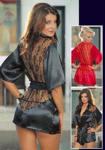 3381ef753f Sexy Black Kimono Intimate Sleepwear Robe Set - 3 Piece Lingerie - Small   20.95