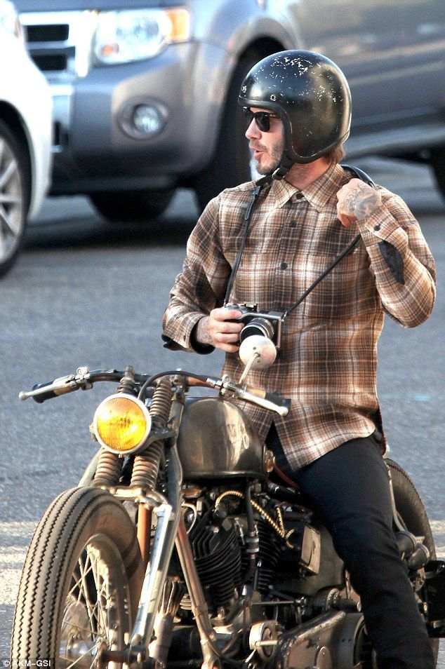 David Beckham Poses On His Motorbike As He Goes Sight Seeing In La