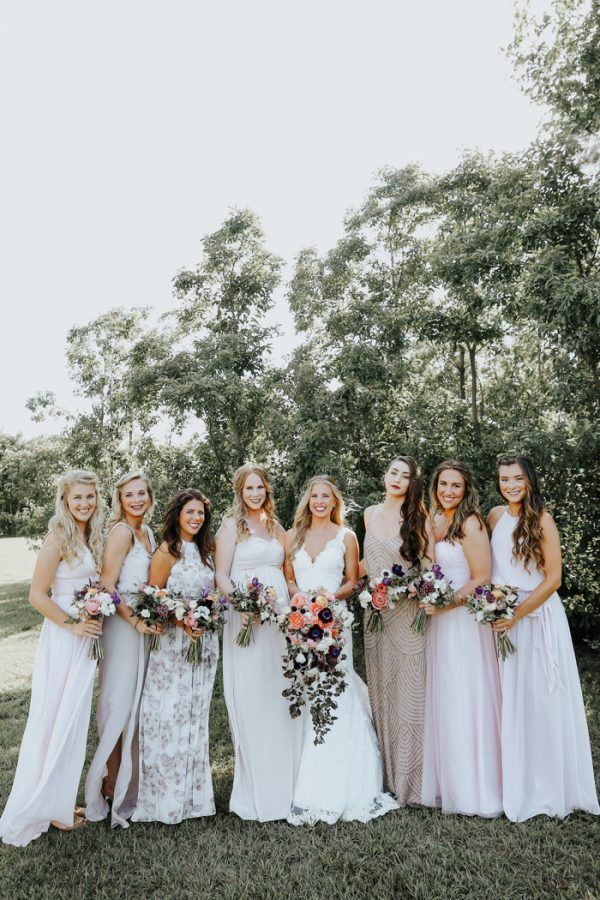 fall bridal party pictures%0A This Fall Wedding at Southwind Hills Seamlessly Blends Bold and Soft Styles