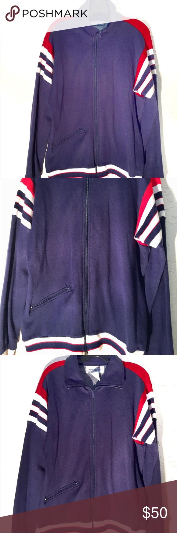 80s Vintage Blue Red White Striped Track Jacket Track Jackets Jackets Striped