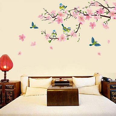 Peach+Blossom+And+Birds+Wall+Stickers+–+USD+$+9.99