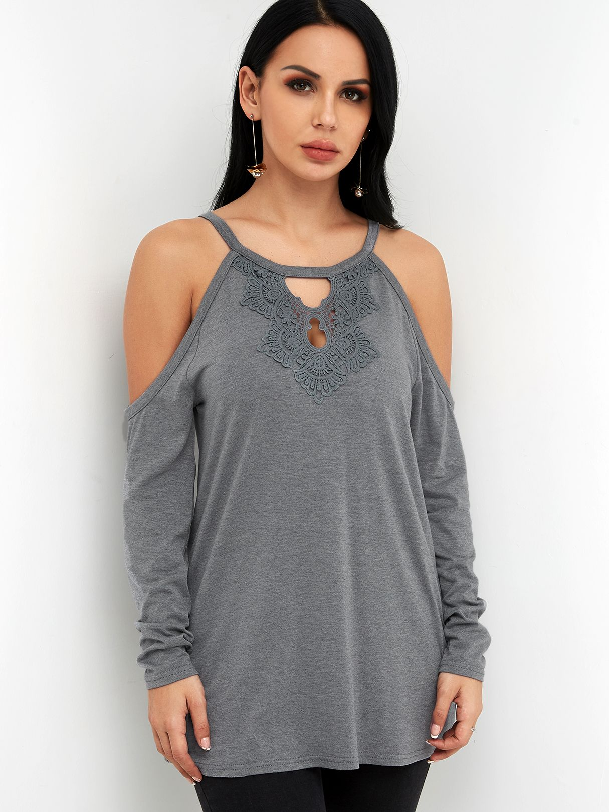 ce929a57cf67 Grey Cut Out Lace Details Cold Shoulder Long Sleeves T-shirts - US$13.95 - YOINS