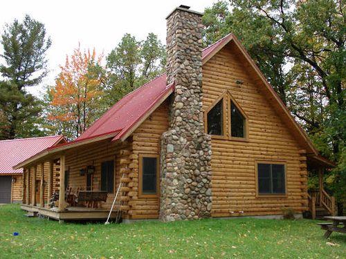 classic log cabin with stone chimney home decor prefabricated rh pinterest com