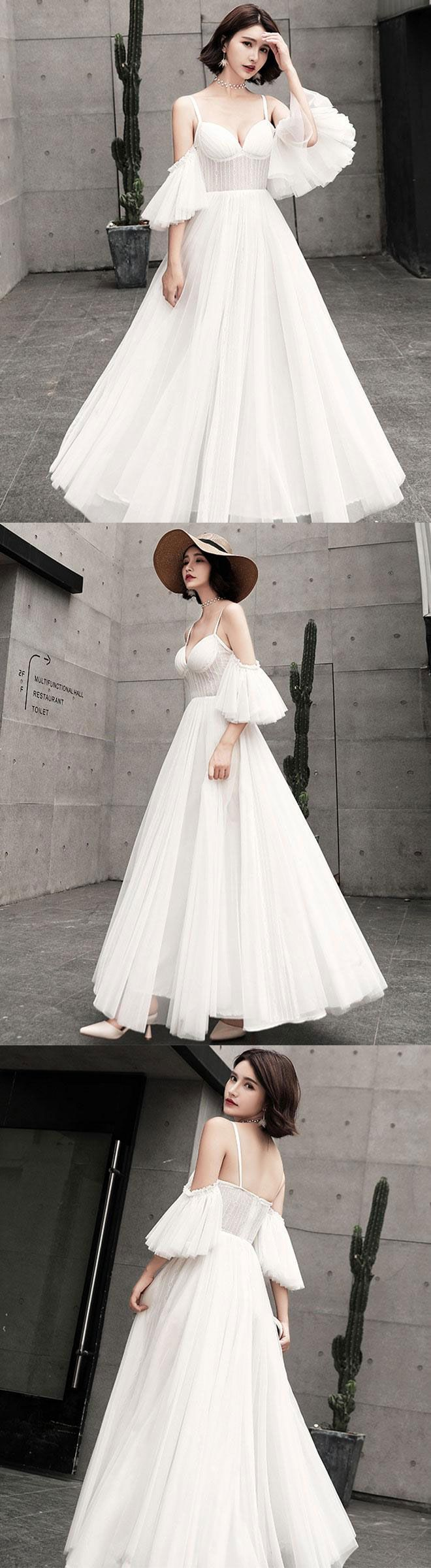 Unique tulle long prom dress white evening dress in i don