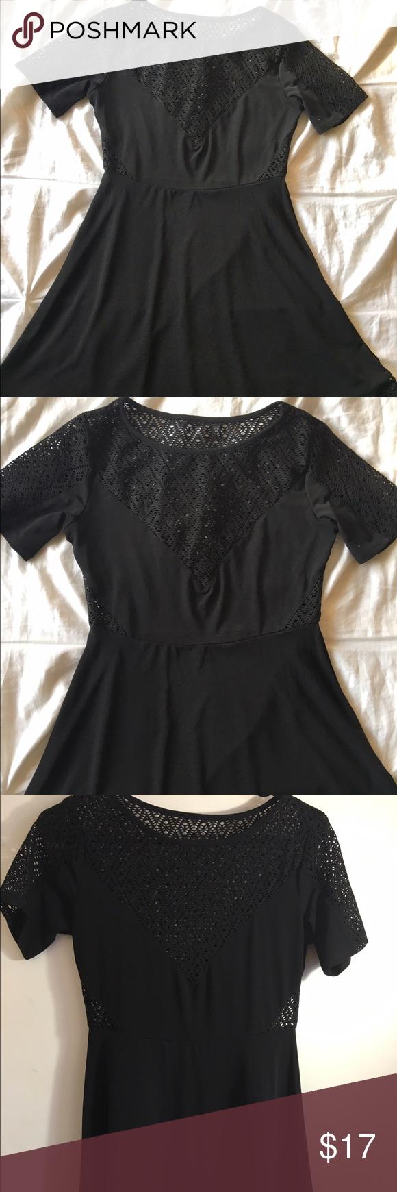 Tobi black mesh cut out short sleeve dress my posh closet