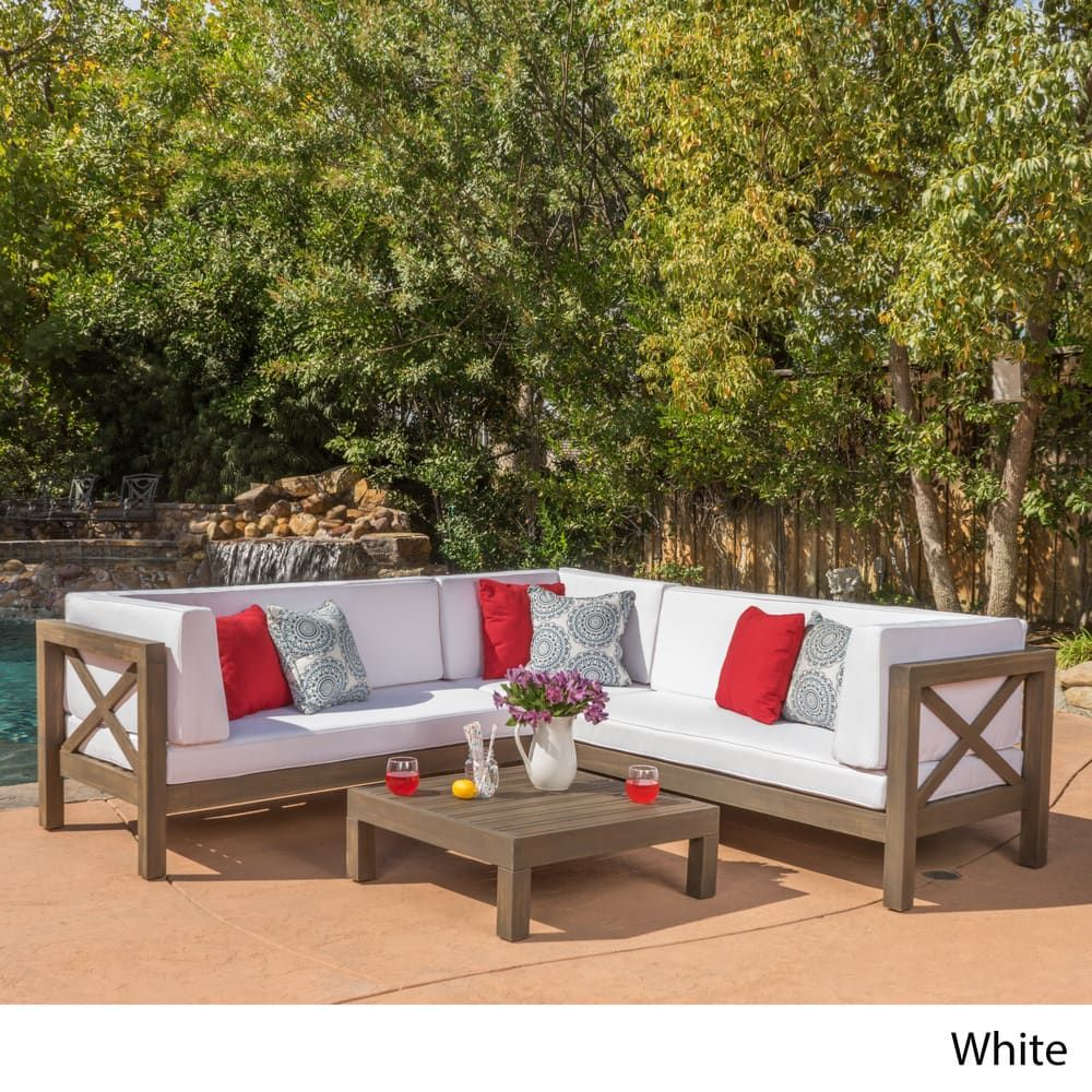 brava outdoor 4 piece wood sectional set w cushions by christopher rh pinterest at