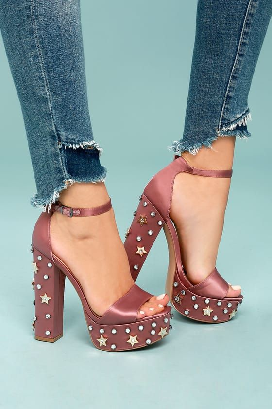 52ecd5b6c69 Steal the show in the Steve Madden Glory Dusty Rose Satin Studded Platform  Heels! These