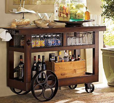 Bar cart barra movil pinterest bar muebles de tubo for Bar movil de madera