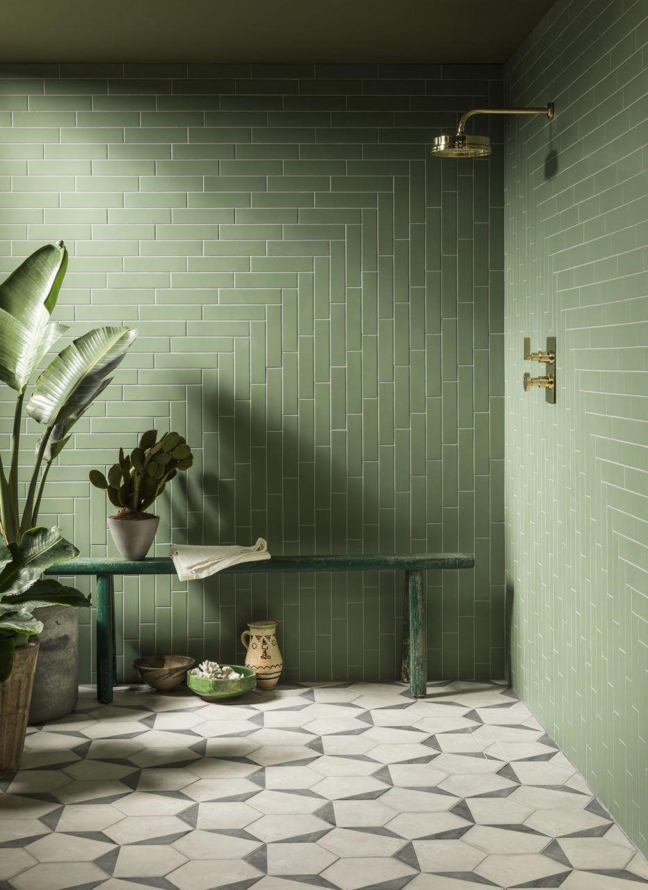 Home Interior Living Room Oska Jungle Green Matt Porcelain Tiles