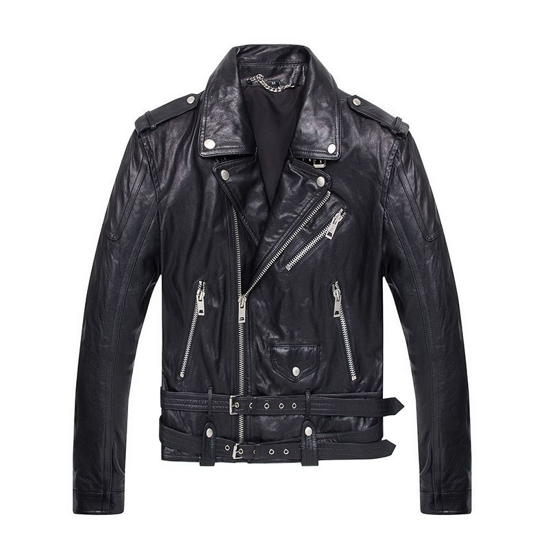 b4d5edd56579 2017 Men Black Genuine Motorcycle Leather Jacket Real Sheepskin Diagonal  Zipper Slim Fit Short Winter Leather