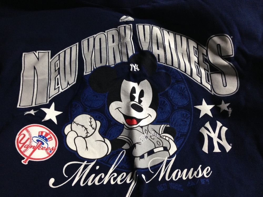 61b5b2602 Majestic #MLB New York #Yankees Disney Mickey Mouse T-shirt Adult Large  Navy Blue from $9.99