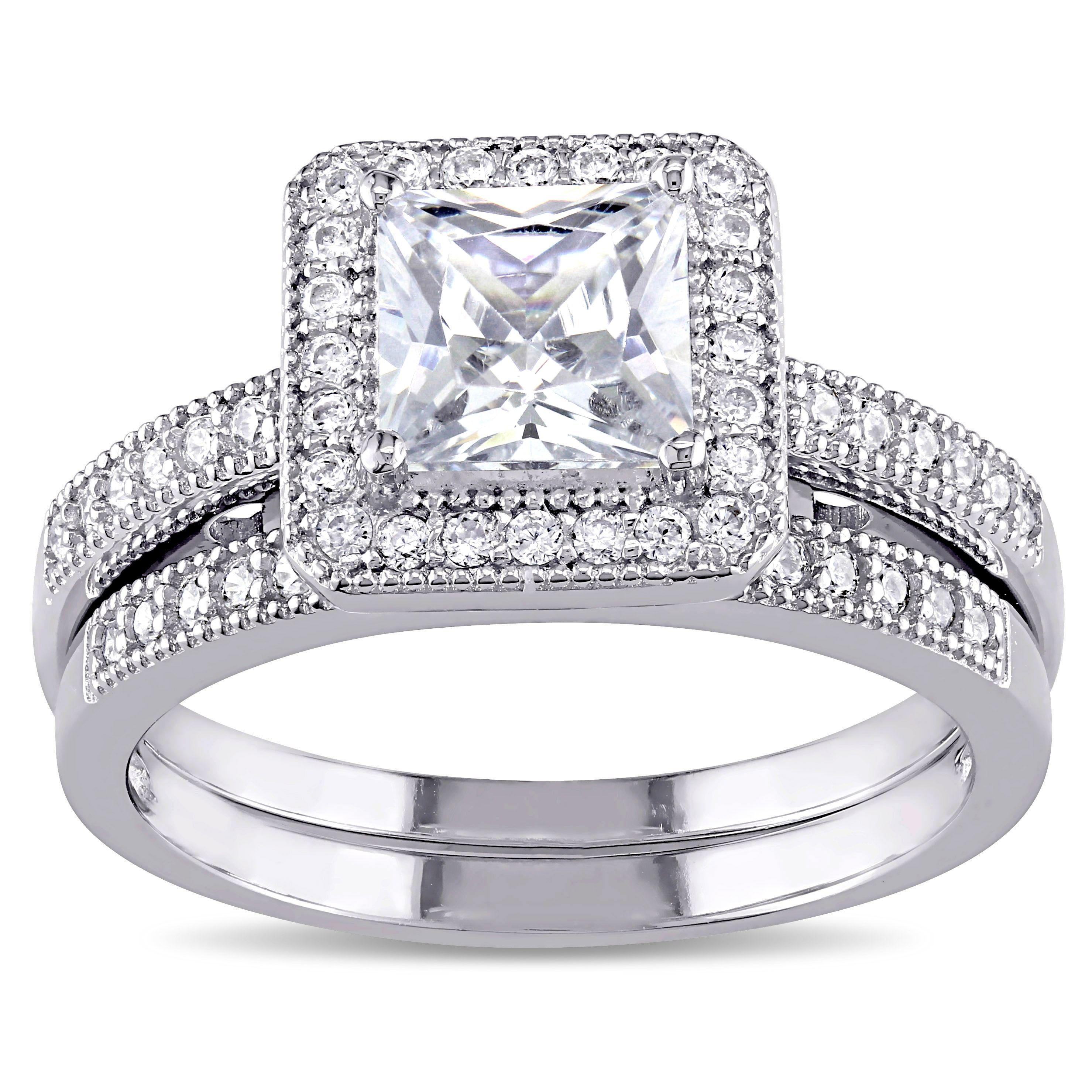 Miadora Sterling Silver White Cubic Zirconia Bridal Ring Set Size 10 Women S