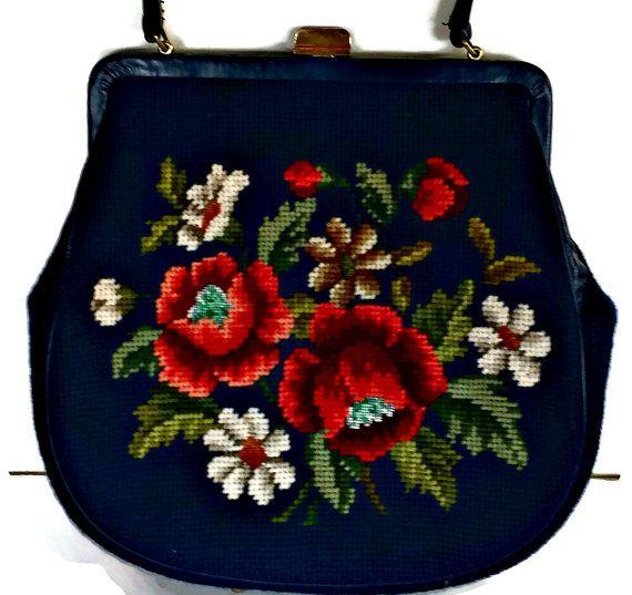 Needlepoint Handbag Floral Peony Large