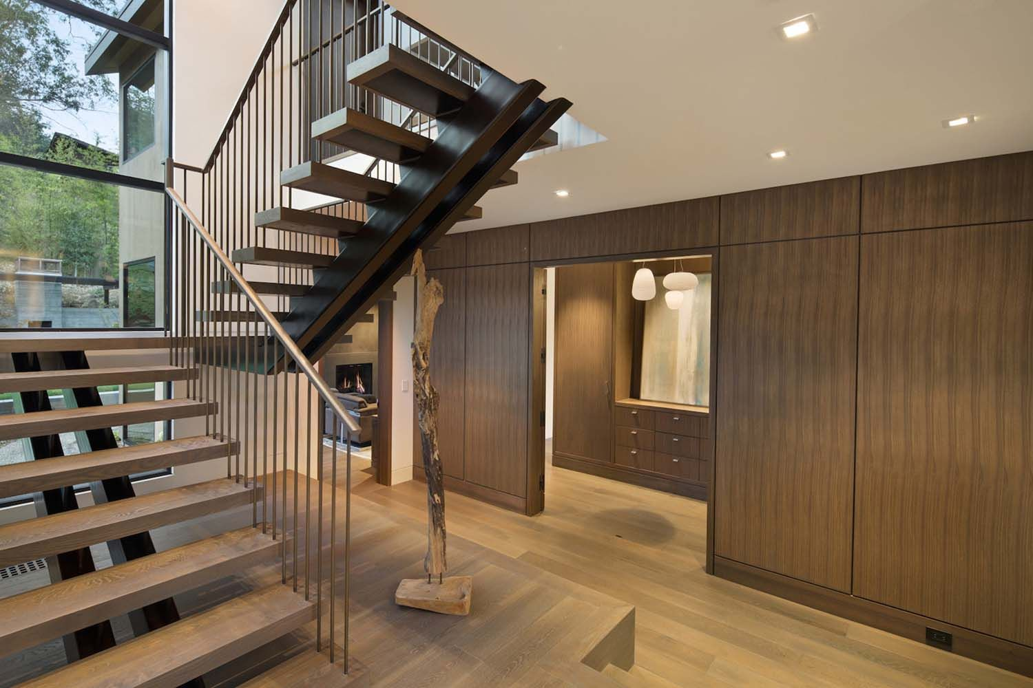 home interior design stairs%0A Courtyard home offers a fresh and contemporary aesthetic in California