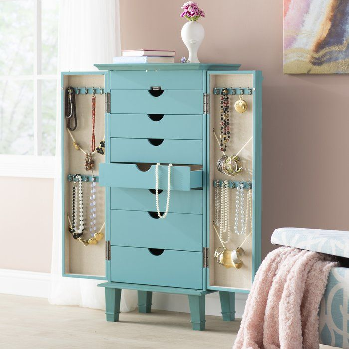Enloe Free Standing Jewelry Armoire with Mirror   Standing ...