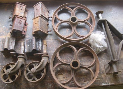 Architectural Antique Cast Iron Factory Cart Wheels And